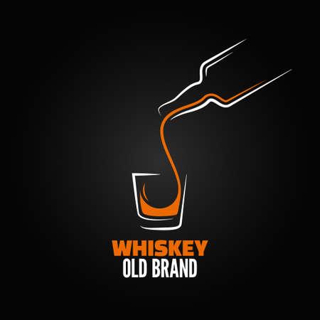 whisky: bouteille de verre de whisky menu splash tiré fond