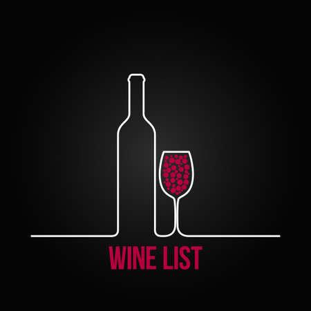 wijnfles glas lijst ontwerp menu achtergrond Stock Illustratie