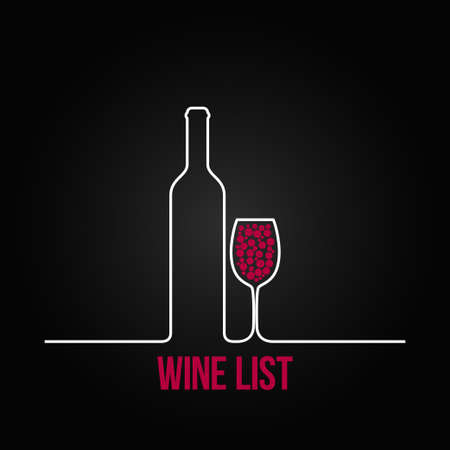 wine bottle glass list design menu background