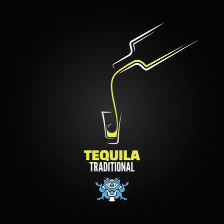tequila: tequila shot bottle glass menu design background