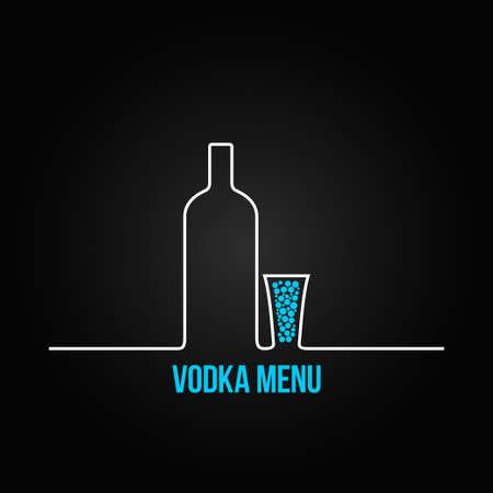 shots alcohol: vodka bottle glass deign menu background Illustration