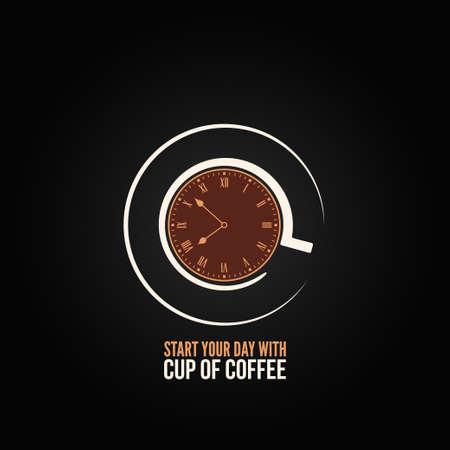 koffiekopje klok conceptontwerp achtergrond Vector Illustratie