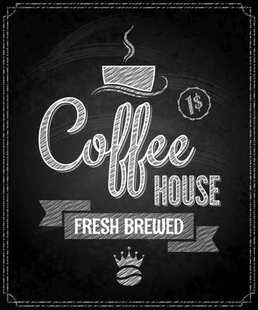 coffee menu design chalkboard background Vector