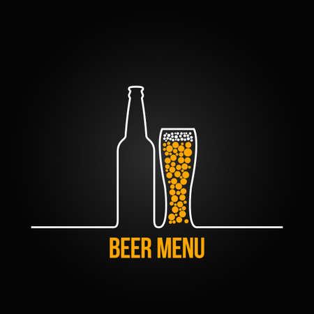 vasos de cerveza: botella de cerveza de cristal dign� fondo Vectores