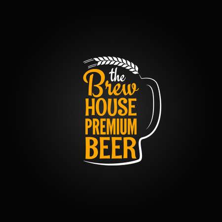 cerveza negra: botella de cerveza de la casa de cristal de menú de diseño de fondo Vectores