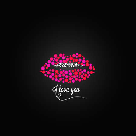 mouth: lips kiss lipstick love design background Illustration