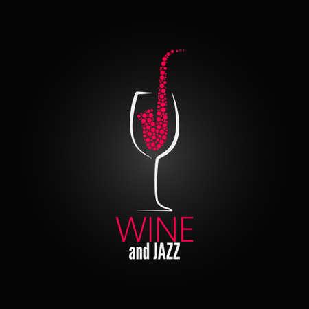 Weinglas Jazz Design-Konzept-Hintergrund Illustration