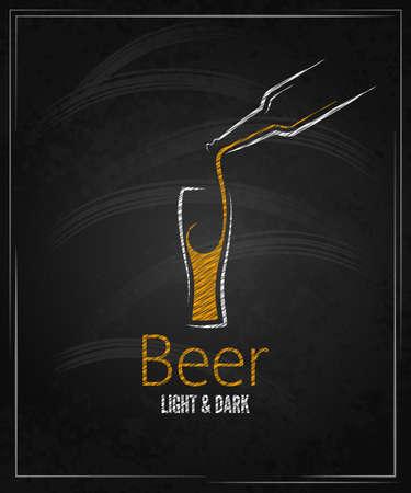cerveza negra: menú en la pizarra vaso de cerveza