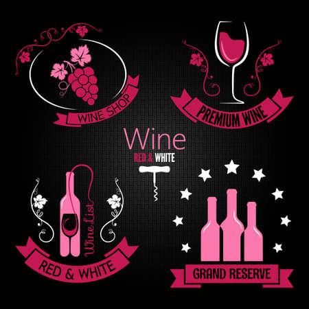 wine glass bottle label set Vector