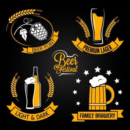 black beer: beer glass bottle label set