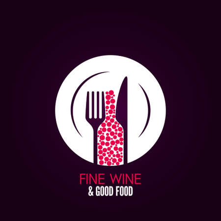 knife and fork: wine glass plate menu design background