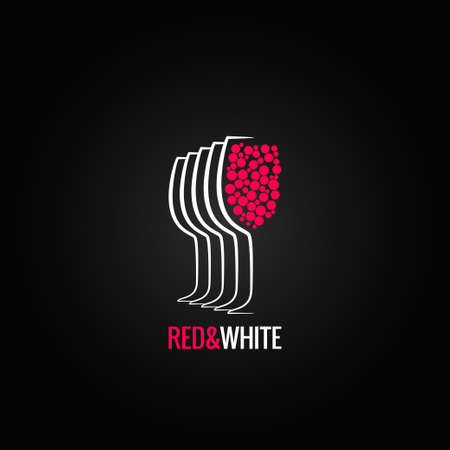 wine glass red and white backgraund 8 eps version