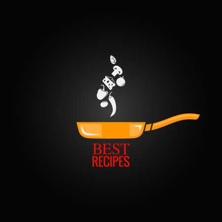 the recipe: frying pan design menu background  Illustration