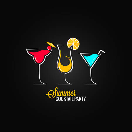 white party: cocktail zomer partij ontwerp menu achtergrond