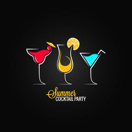 happy hours: menu conception de cocktail d'�t� fond Illustration
