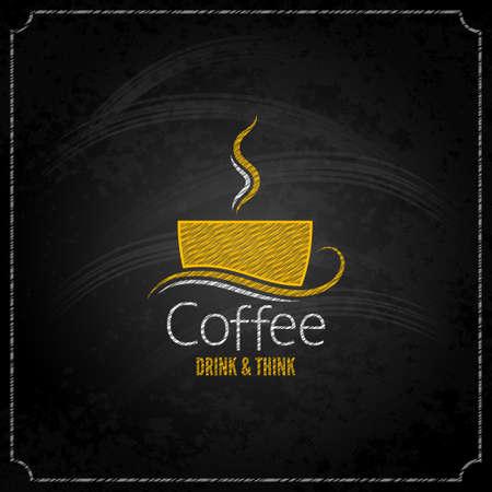 coffee cup chalk label concept menu