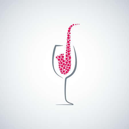 Weinglas Jazz-Konzept-Hintergrund Illustration