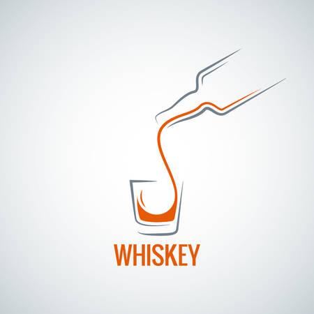 whiskey glass bottle shot splash background Illustration