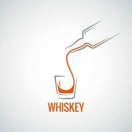 shot glass: whiskey glass bottle shot splash background Illustration