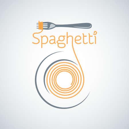 Pasta de espaguetis tenedor placa de fondo Foto de archivo - 29778224
