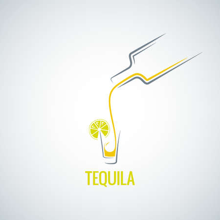 tequila shot bottle glass menu background Illustration
