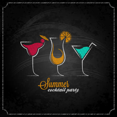 happy hours: cocktail d'�t� conception craie fond du menu Illustration