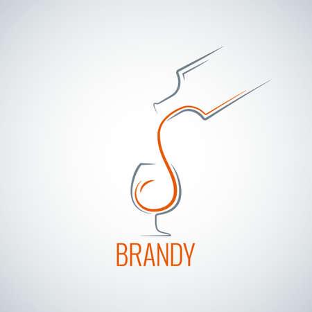 brandy glass: brandy glass bottle splash background Illustration