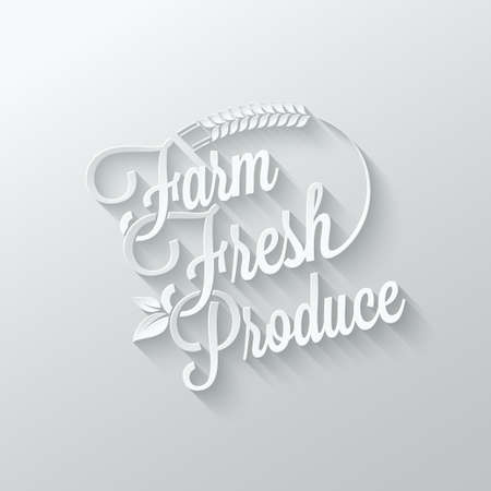 fresh produce: farm fresh cut paper lettering background