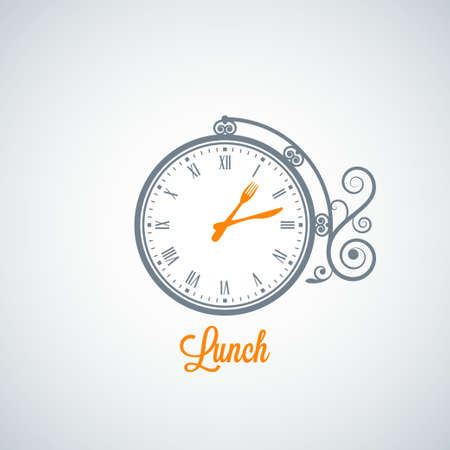 lunch time: lunch clock concept background