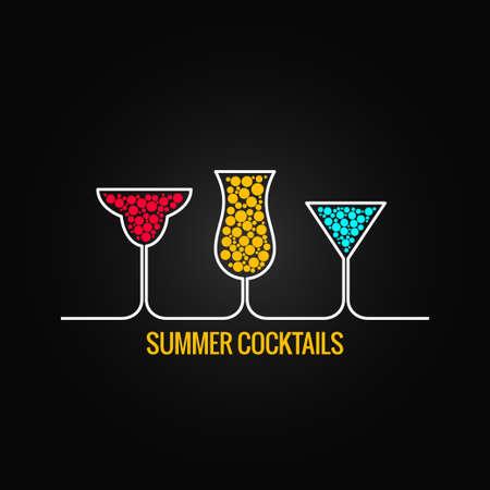 夏のカクテル メニューをデザインします。  イラスト・ベクター素材