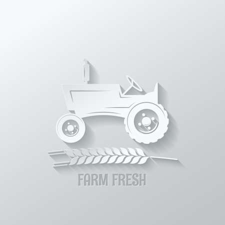 wheat harvest: farm tractor cut paper design background illustration
