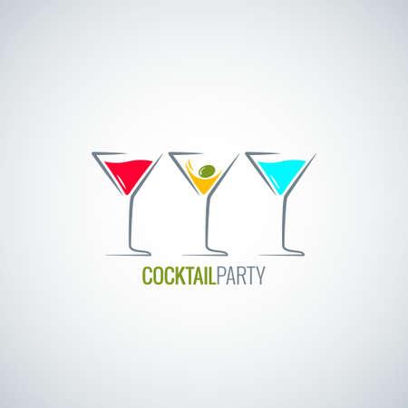 cocktail party glas menu Stock Illustratie