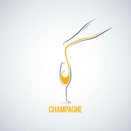シャンパン グラス ボトル デザイン  イラスト・ベクター素材