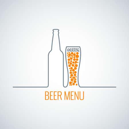 vasos de cerveza: menú de vidrio botella de cerveza