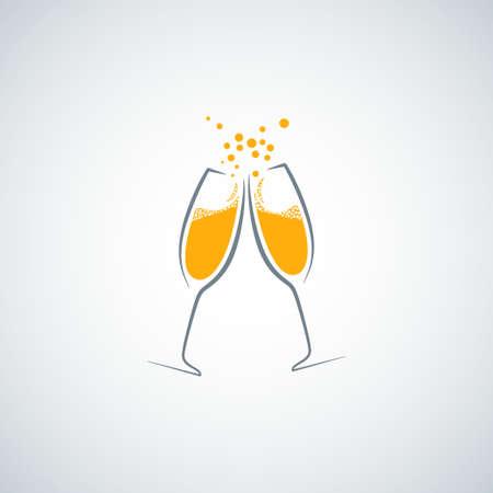 kieliszek do szampana w tle Ilustracje wektorowe