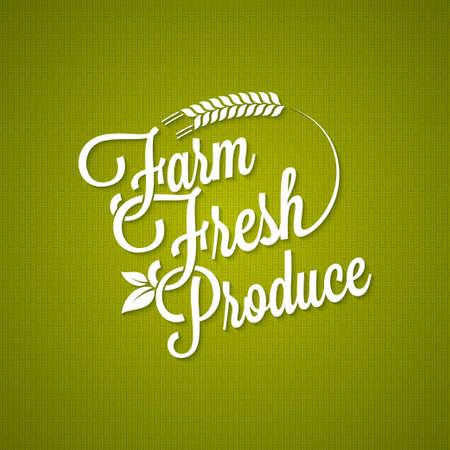 fresh produce: farm fresh vintage lettering background Illustration