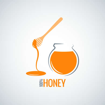 golden pot: honey jar pot glass background Illustration