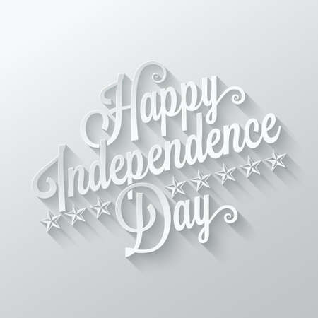 4 july: independence day cut paper lettering background Illustration