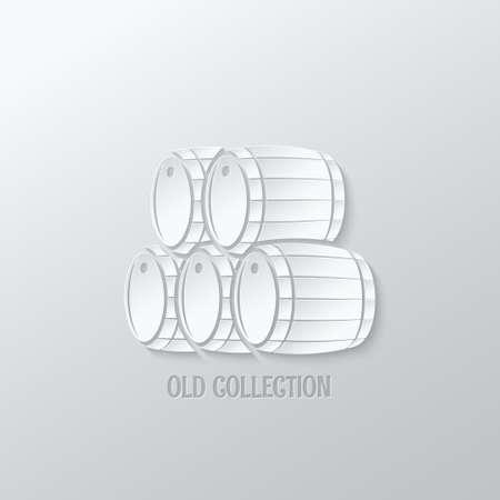 wine barrel: wine barrel paper cut design background Illustration