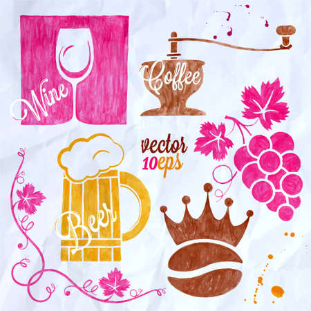 food and drink watercolor set coffee wine beer Vector