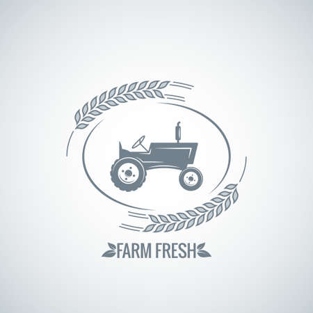 old tractors: farm fresh tractor design background 8 eps