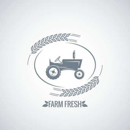 farm fresh tractor design background 8 eps