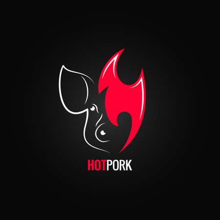 pig roast: pork meat fire concept menu design background 8 eps