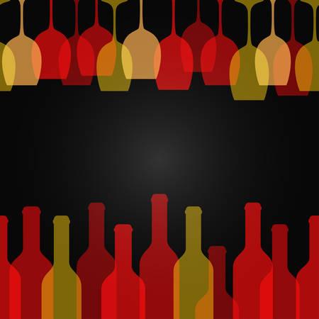 wine glass bottle art design background 10 eps