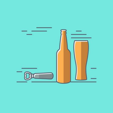beer glass bottle flat design background Vector