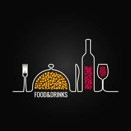 drinking: food and drink menu background Illustration