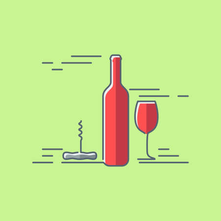 drink bottle: wine glass bottle flat design background Illustration