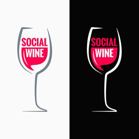 ワイン グラス社会メディアの概念の背景  イラスト・ベクター素材