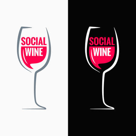 wine glass social media concept background Stock Illustratie