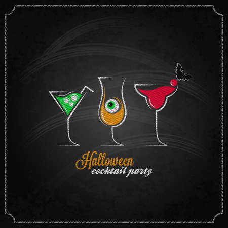 halloween party cocktails menu design background Vector